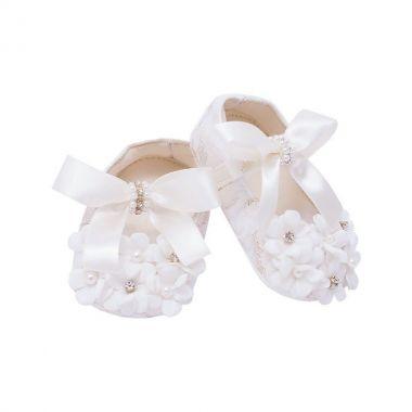 Sapatilha bebê bordada com flores e laço - Marfim
