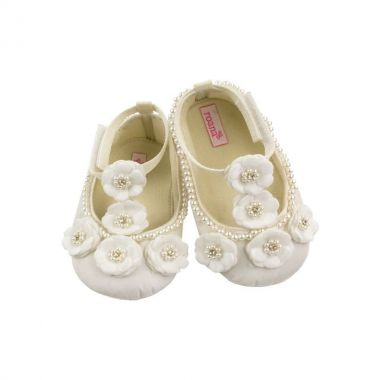 Sapatilha bebê bordada - Off white