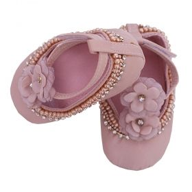 Sapatilha bebê bordada - Rosa seco