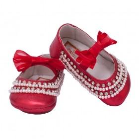 Sapatilha bebê bordado - Vermelho