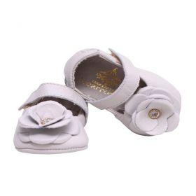 Sapatilha bebê em couro - Marfim