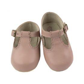 Sapatilha bebê em couro - Rosa