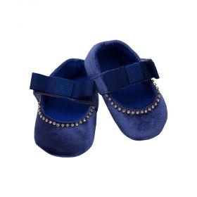 Sapatilha bebê em veludo - Azul