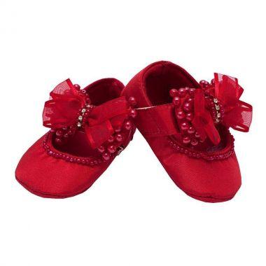 Sapatilha de bebê bordada - Vermelho