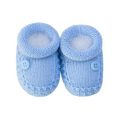 Sapatinho bebê 1 botão - Azul bebê