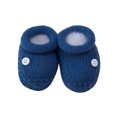 Sapatinho bebê 1 botão - Azul cobalto