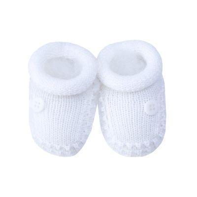 Sapatinho bebê 1 botão - Branco