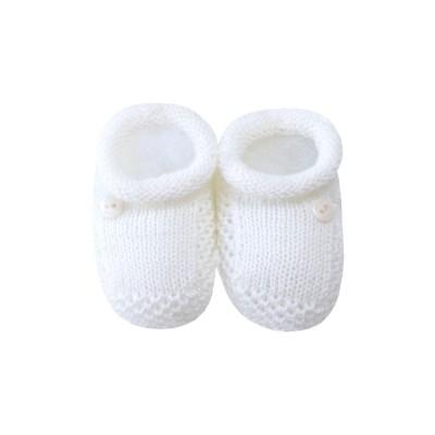 Sapatinho bebê 1 botão - Off white