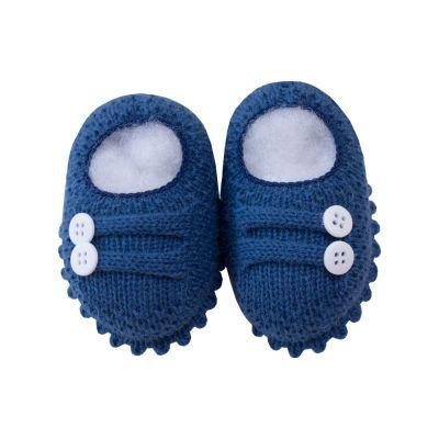 Sapatinho bebê 2 botões - Azul cobalto