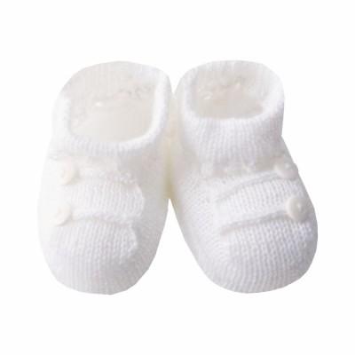 Sapatinho bebê 2 botões - Branco
