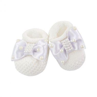 Sapatinho bebê bordado - Branco