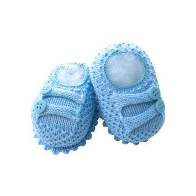 Sapatinho bebê com botões - Azul bebê