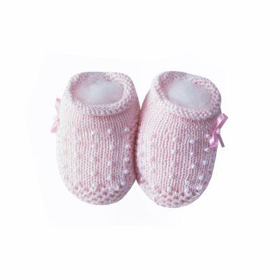 Sapatinho bebê com laço e pérolas - Rosa sensação