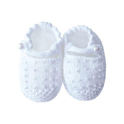 Sapatinho bebê com pérolas - Branco