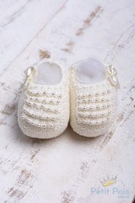 Sapatinho bebê com pérolas - Natural