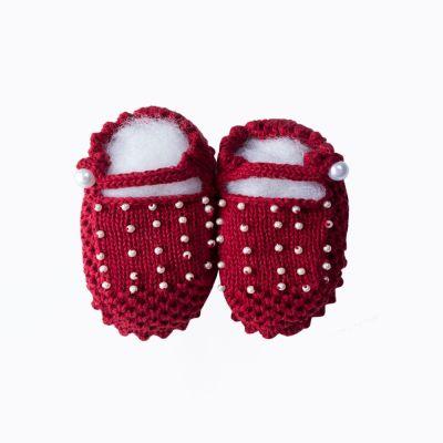 Sapatinho bebê com pérolas - Vermelho
