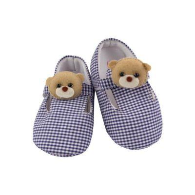 Sapatinho bebê com ursinho - Azul marinho