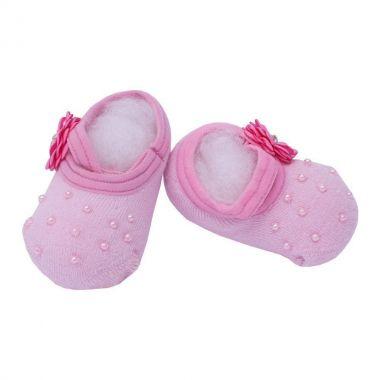Sapatinho bebê de meia bordado - Rosa bebê