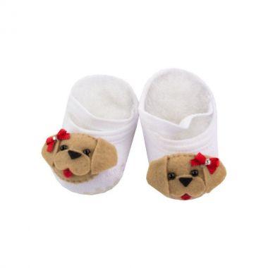 Sapatinho bebê de meia com cachorrinho - Branco