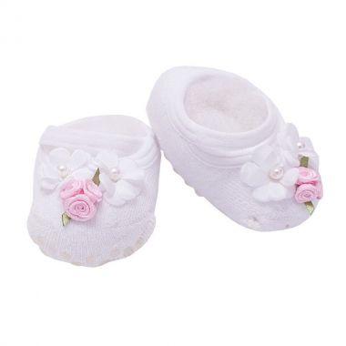 Sapatinho bebê de meia flores - Branco