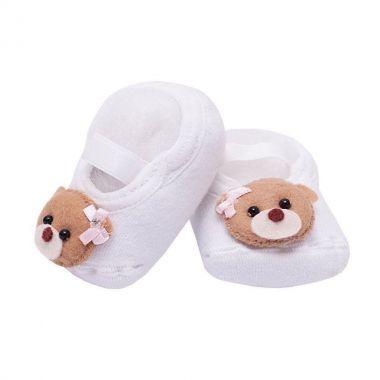 Sapatinho bebê de meia ursinha - Branco