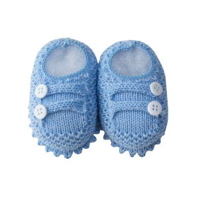 Sapatinho bebê em tricot 2 botões - Azul bebê