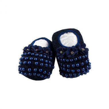 Sapatinho bebê em tricot 3 flores com pérolas - Azul marinho
