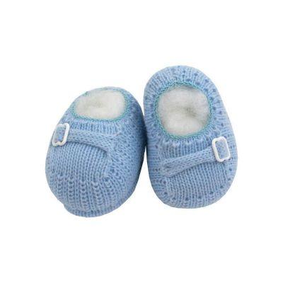 Sapatinho bebê em tricot fivela - Azul bebê