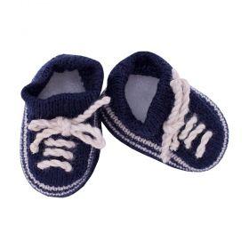 Sapatinho bebê em tricot - Azul marinho