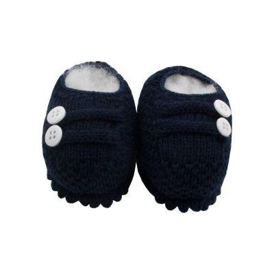 Sapatinho bebê em tricot 2 botões - Azul marinho