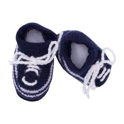 Sapatinho bebê em tricot - Azul marinho e branco
