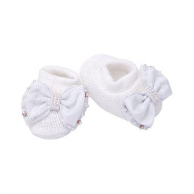 Sapatinho bebê em tricot bordado - Branco