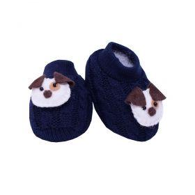 Sapatinho bebê em tricot bordado com cachorrinho - Azul marinho