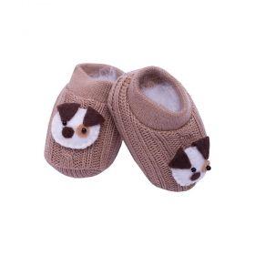 Sapatinho bebê em tricot bordado com cachorrinho - Rolex