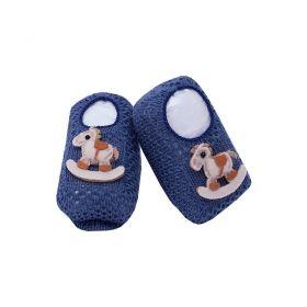 Sapatinho bebê em tricot cavalinho - Azul jeans