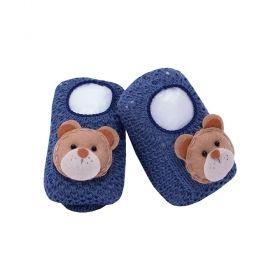 Sapatinho bebê em tricot ursinho - Azul jeans