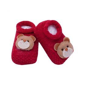 Sapatinho bebê em tricot ursinho - Vermelho