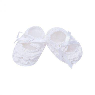 Sapatinho bebê em crochê - Branco