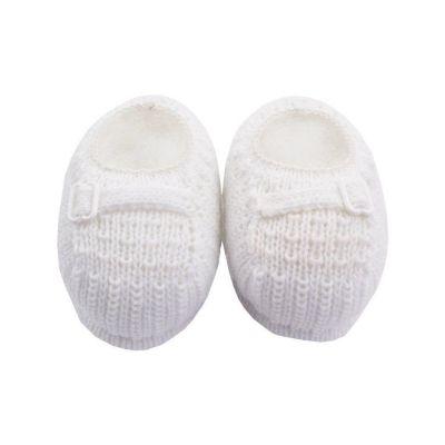 Sapatinho bebê em tricot fivela - Branco