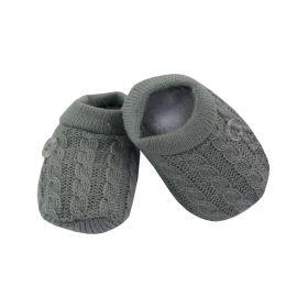 Sapatinho bebê em tricot - Cinza