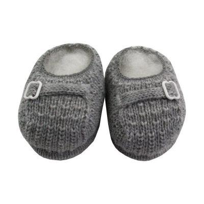 Sapatinho bebê em tricot fivela - Cinza