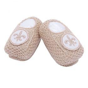 Sapatinho bebê em tricot bordado com flor de lis - Rolex
