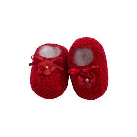 Sapatinho bebê em tricot com flor - Vermelho