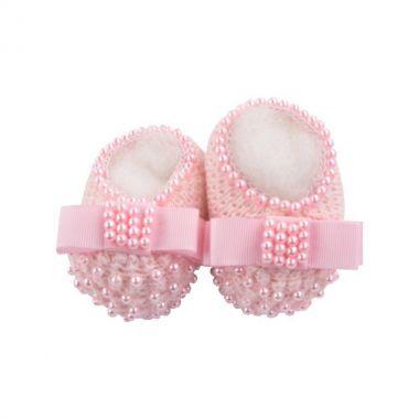 Sapatinho bebê em tricot com laço gorgurão e pérolas - Rosa