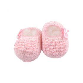 Sapatinho bebê em tricot com laço e pérolas - Rosa bebê