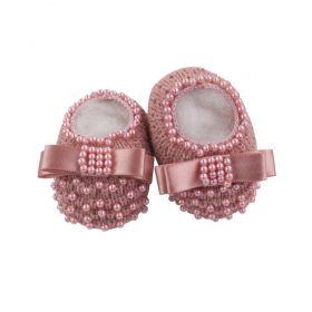 Sapatinho bebê em tricot com laço e pérolas - Rosê