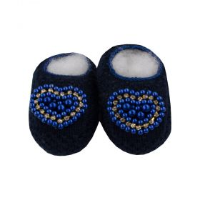 Sapatinho bebê em tricot com pérolas e strass - Azul marinho