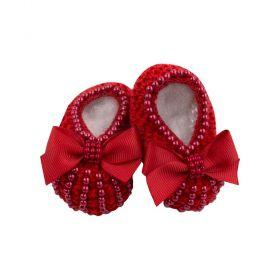 Sapatinho bebê em tricot com pérolas - Vermelho