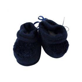 Sapatinho bebê em tricot com pompom - Azul marinho