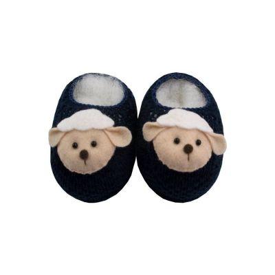 Sapatinho bebê em tricot de ovelhinha - Azul marinho